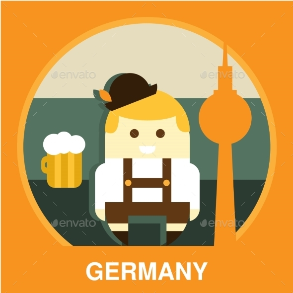 Traditional Germany Resident Vector Illustration - People Characters