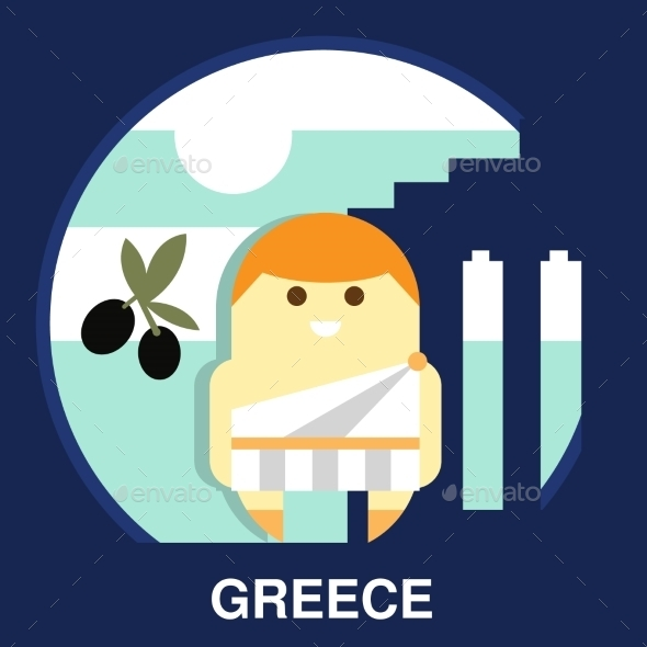 Greek Resident In Vector Illustration - People Characters
