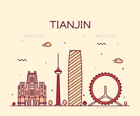 Tianjin Skyline Vector Illustration Line Art - Buildings Objects