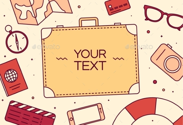 Vector Icons Set Travel Tool Top View Linear Style - Travel Conceptual