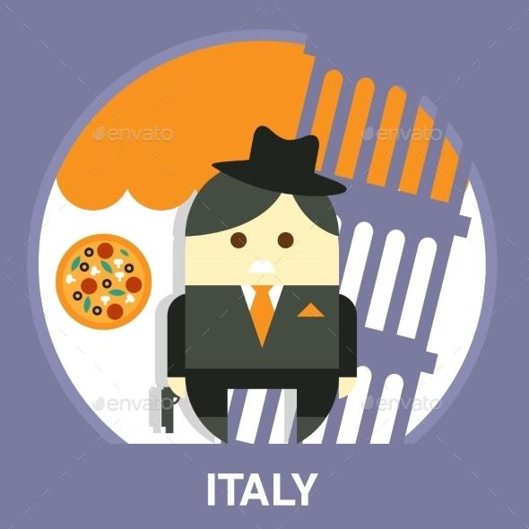 Italian Mafia Men In a Suit Vector Illustration - People Characters
