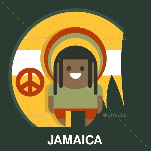 Jamaican Man In Bright Clothes Vector Illustration - People Characters
