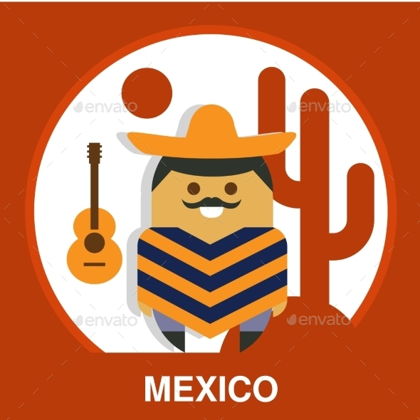 Traditional Mexican Vector Illustration - People Characters