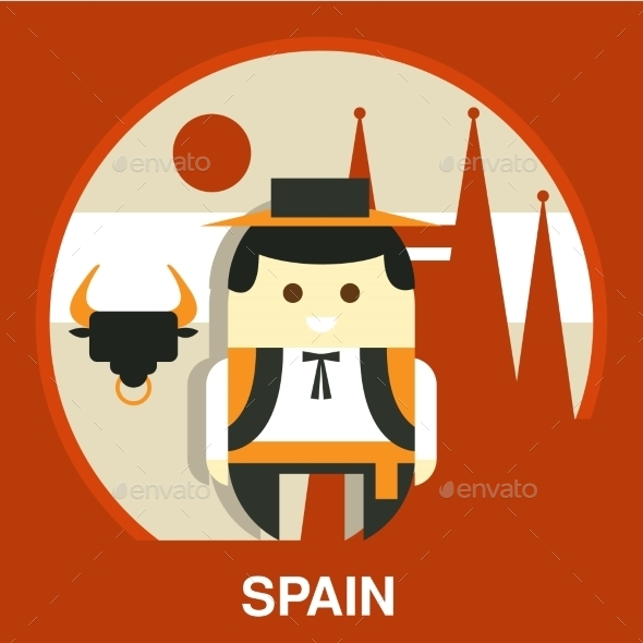 Spanish Traditional Man Vector Illustration - People Characters