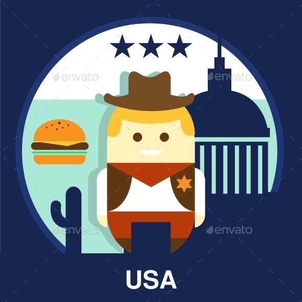 American Cowboy Vector Illustration - People Characters