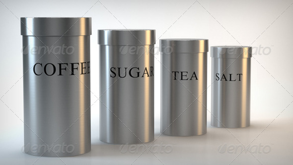 Brushed Steel Canister - Tea, Coffee, Salt, Sugar - 3DOcean Item for Sale