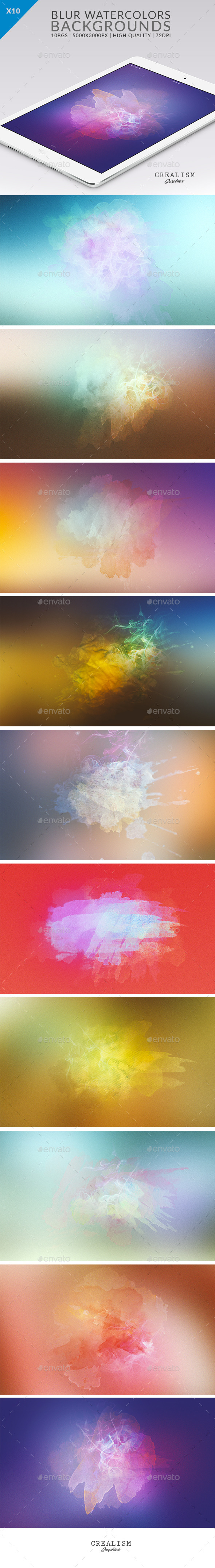 10 Blur WaterColor Backgrounds - Abstract Backgrounds