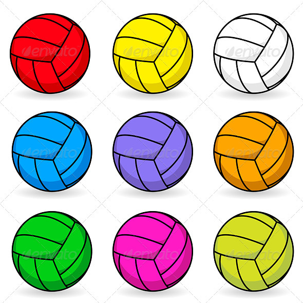 Cartoon volleyball in different colors - Characters Vectors