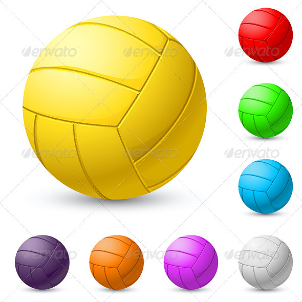 Multi-colored volleyball realiste - Characters Vectors