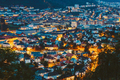 Cityscape of Bergen and harbor from mountain top, Norway