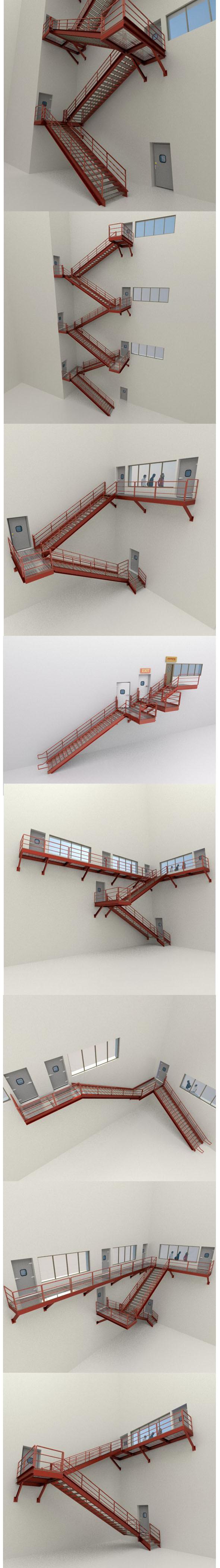 Factory's Metal Stairs package - 3DOcean Item for Sale