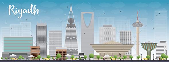 Riyadh Skyline with Grey Buildings - Buildings Objects