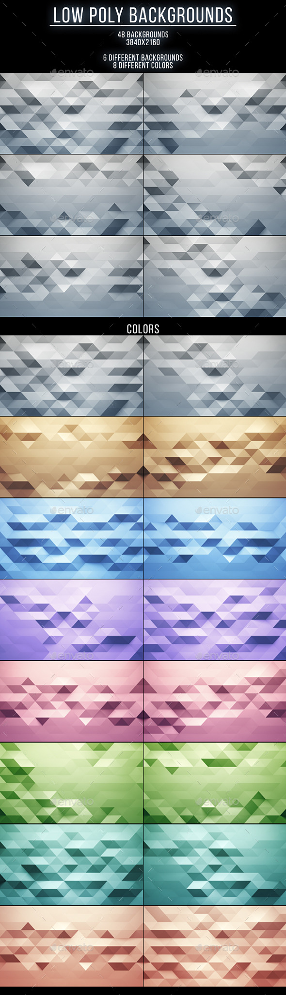 48 Low Poly Backgrounds - Abstract Backgrounds