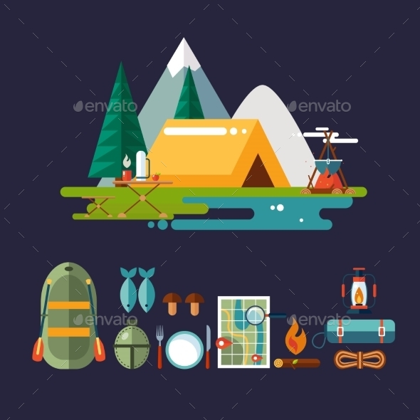 Camping And Hiking Icons. Flat Design. - Miscellaneous Vectors