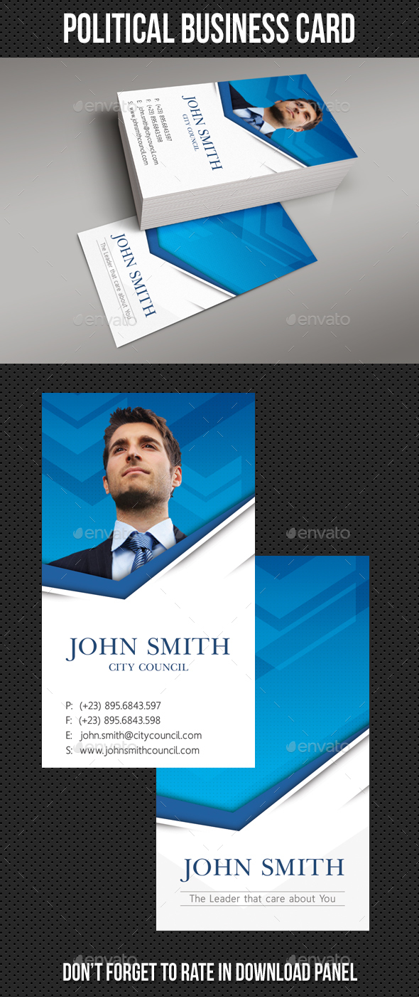 Political Business Card Template - Corporate Business Cards