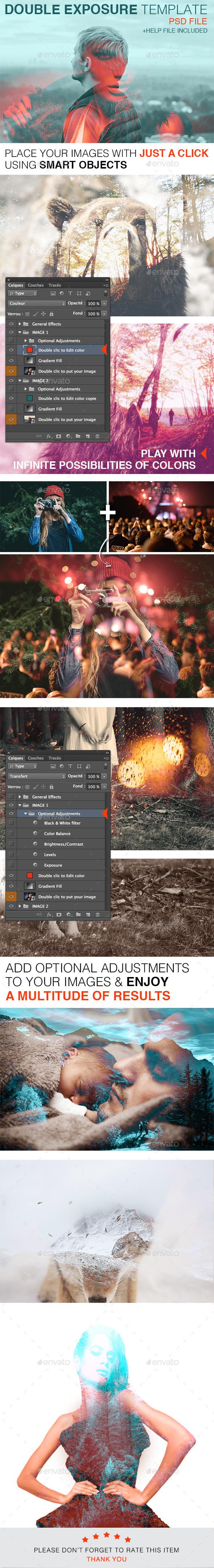 Douple Exposure Template - Photo Templates Graphics