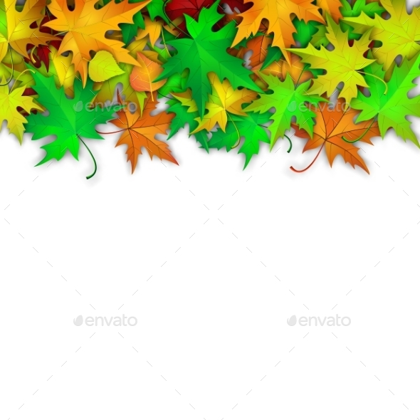 Vector Background With Colorful Autumn Leaves - Seasons Nature