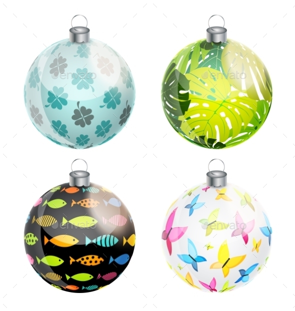 New Year And Christmas Balls Set Vector - Objects Vectors