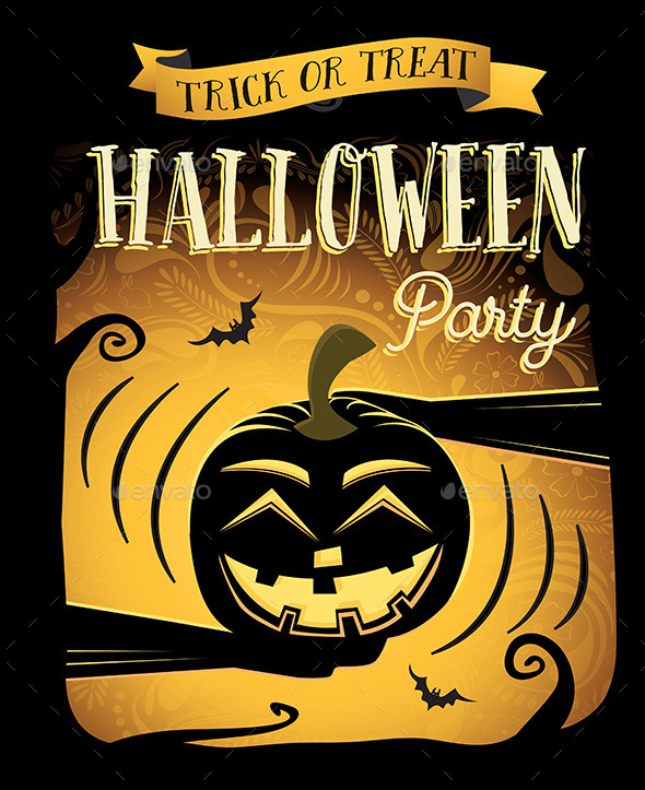 Halloween Party Poster with Laugh Pumpkin - Halloween Seasons/Holidays