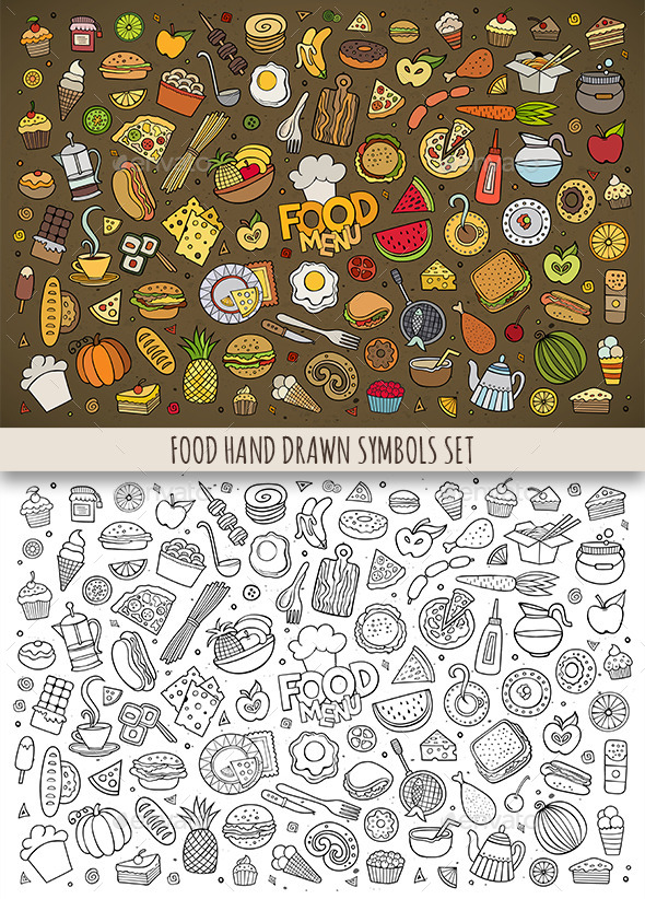 Hand Drawn Food Doodles Symbols - Food Objects