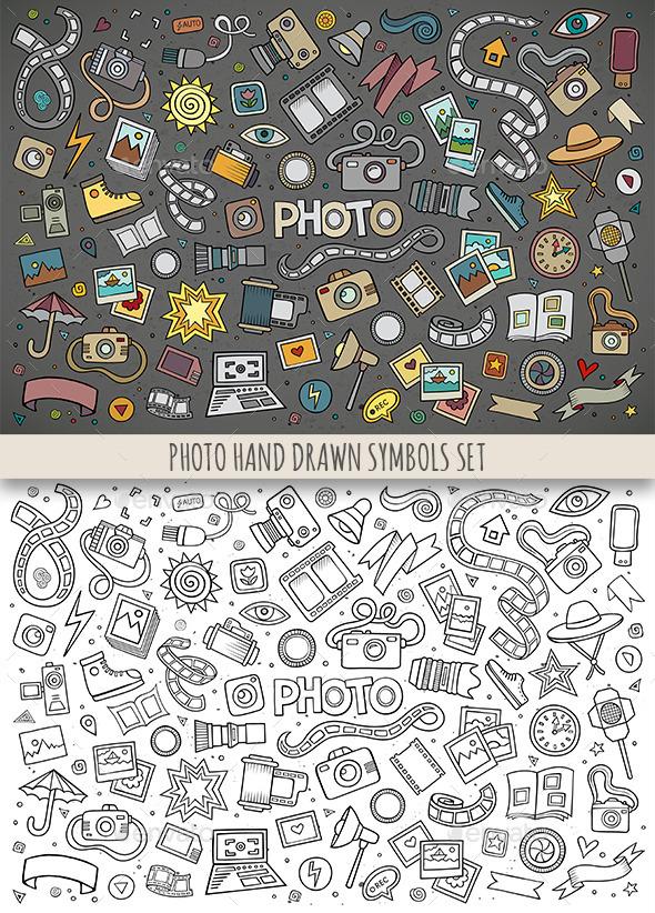 Hand Drawn Photo Doodles Symbols - Media Technology