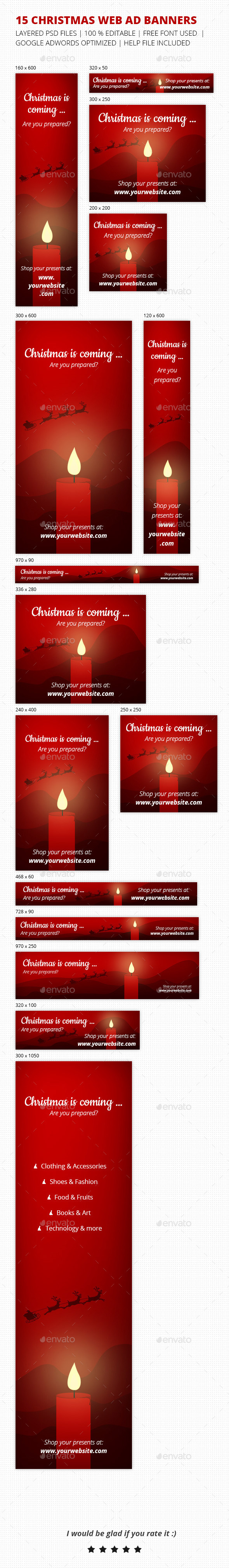 Christmas is Coming Banner Set - Banners & Ads Web Elements