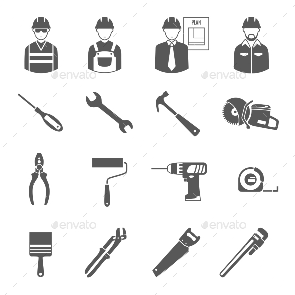 Construction Workers Tools Black Icons Set  - Objects Icons