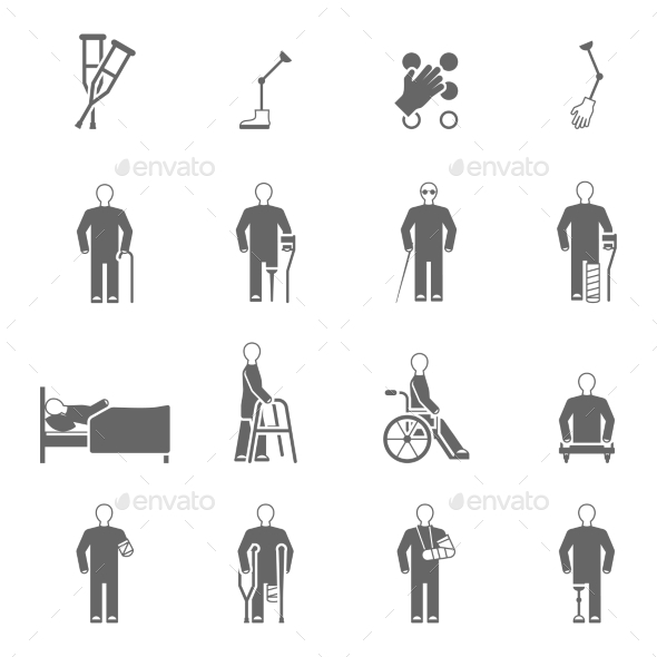 Disabled People Icons Set - People Characters