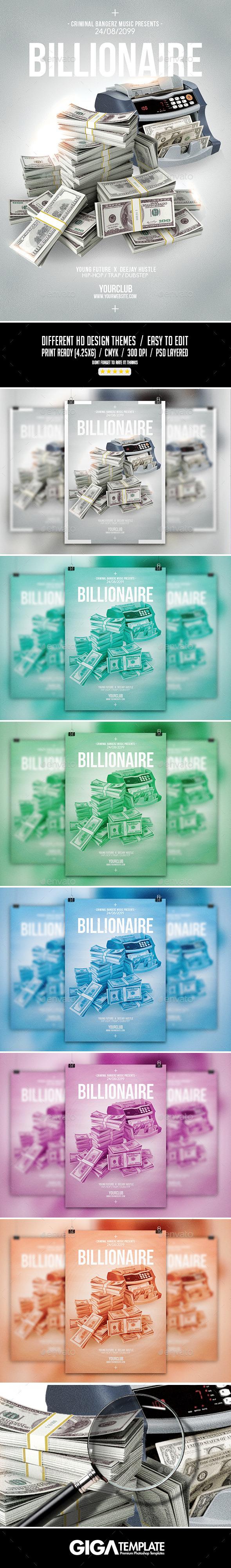 Billionaire 2 | Hip-Hop Modern Flyer PSD Template - Events Flyers