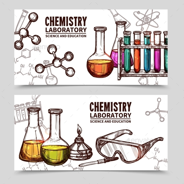 Chemistry Laboratory Sketch Banners - Miscellaneous Conceptual