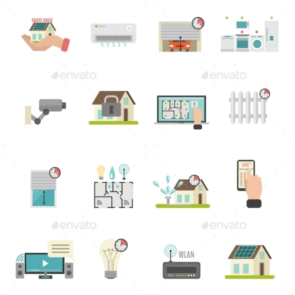 Smart House Icons Set - Buildings Objects