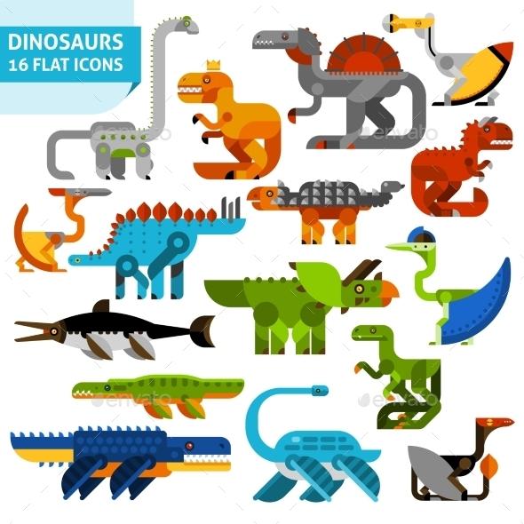 Dinosaur Icons Set - Animals Characters
