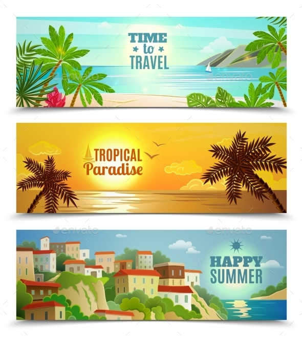 Travel Agency Tropical Paradise Vacation Banners - Seasons Nature