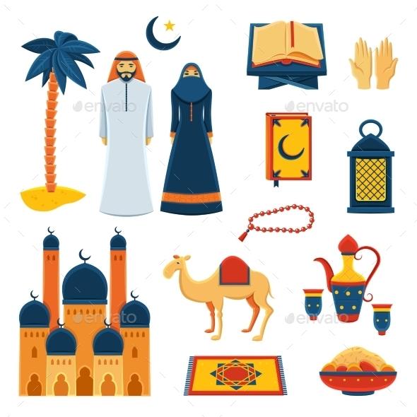 Islam Religion Flat Icons Set - Religion Conceptual