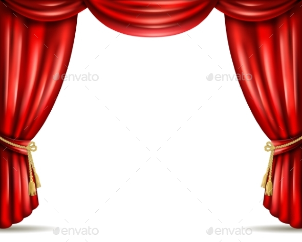 Theater Curtain Open Flat Banner Illustration - Backgrounds Decorative