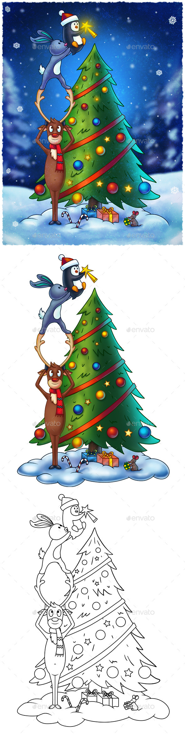 Animals Decorating a Christmas Tree - Illustrations Graphics