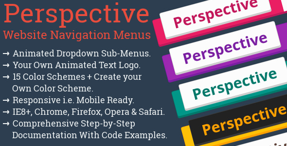Perspective Website Navigation Menu & Logo