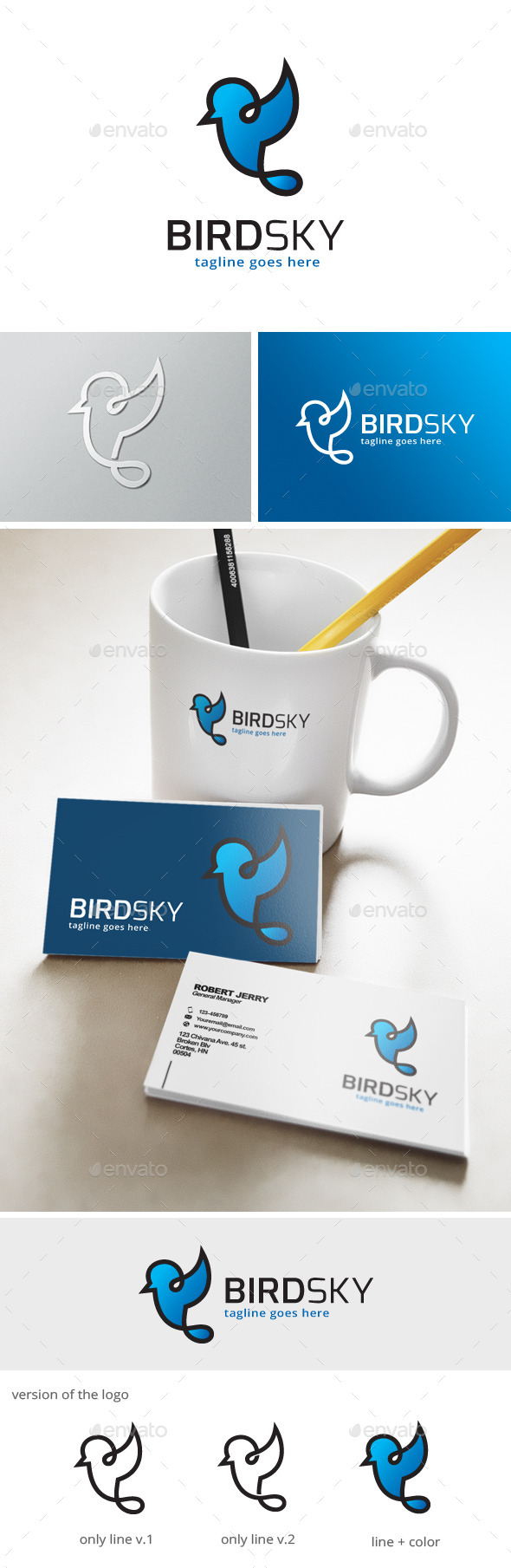 Bird Line Logo - Animals Logo Templates
