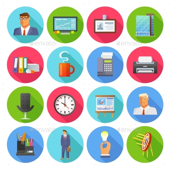 Office Icons Flat Set - Business Icons