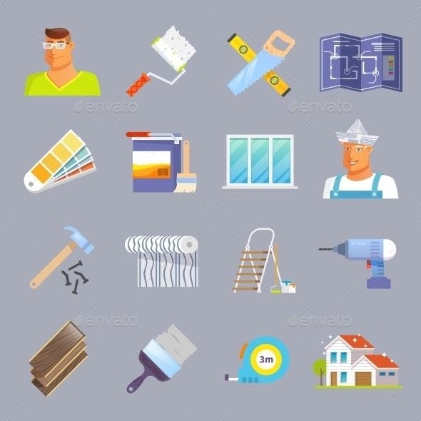 Renovation Flat Icons Set - Miscellaneous Icons
