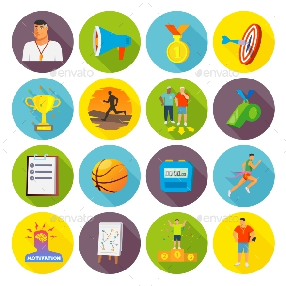 Coaching Sport Icons Flat - Objects Icons