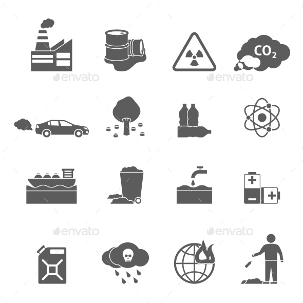 Ecology Problems Icons Set - Man-made objects Objects