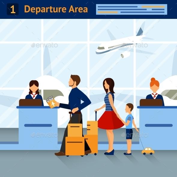 Scene in Airport Departure Area - Miscellaneous Vectors