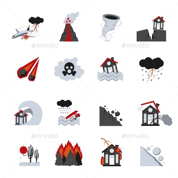 Natural Disasters Icons Set - Icons