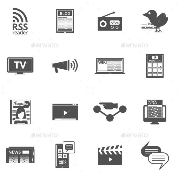 Mass Media Black Icons Set  - Technology Icons