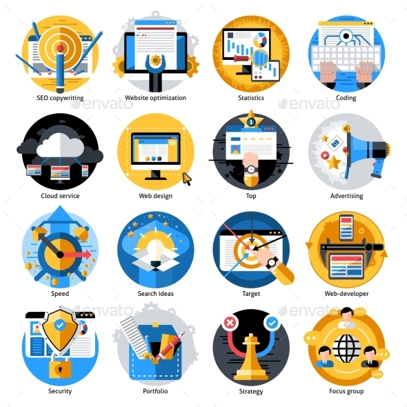 Seo Development Round Icons Set - Web Icons
