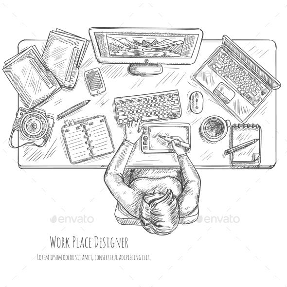 Designer Workplace Sketch - Miscellaneous Vectors