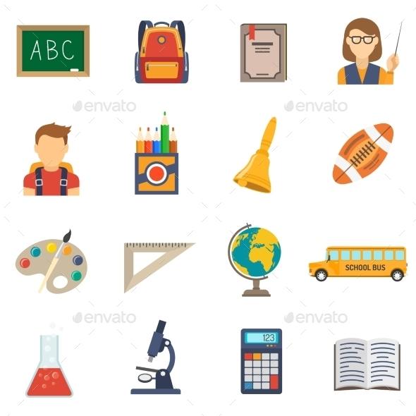 Education Flat Set - Objects Icons