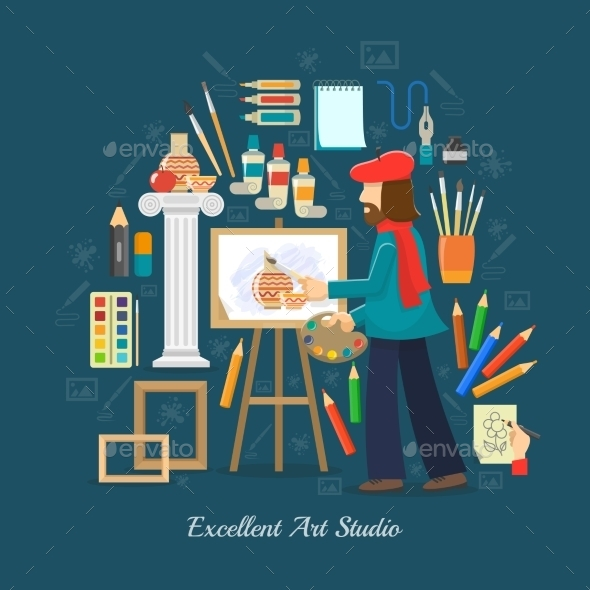 Artist Studio Concept - Miscellaneous Vectors