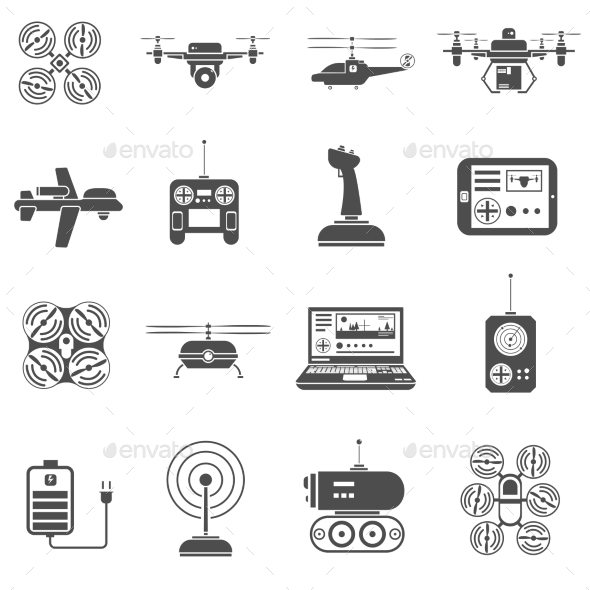Drones Black White Icons Set - Technology Icons